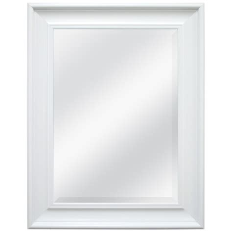 white mirror bathroom shop style selections white beveled wall mirror at lowes com
