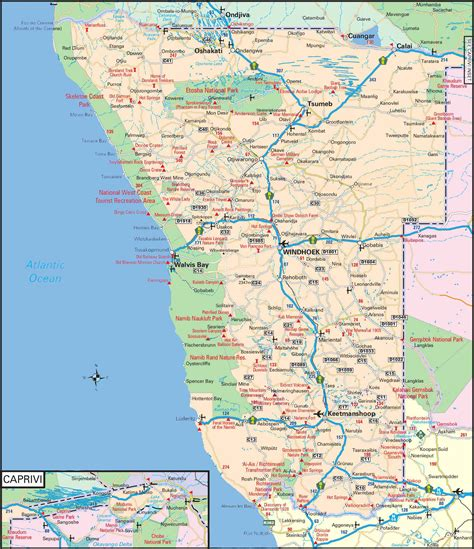 free printable road maps south africa namibia road map towns plans all maps of namibia