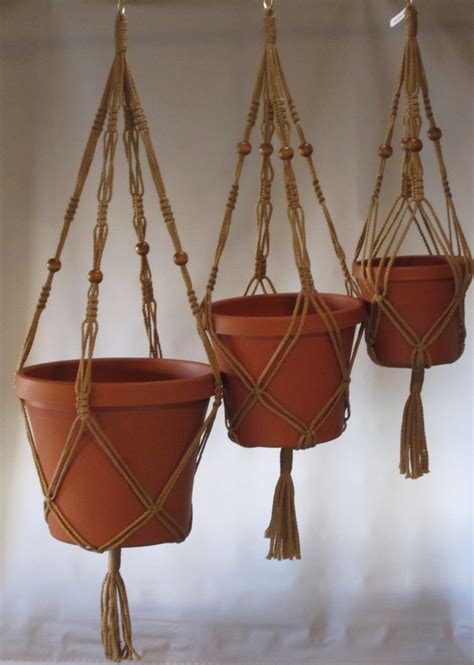 Macrame Pot Hangers - macrame plant hangers vintage style trio 24 inch by