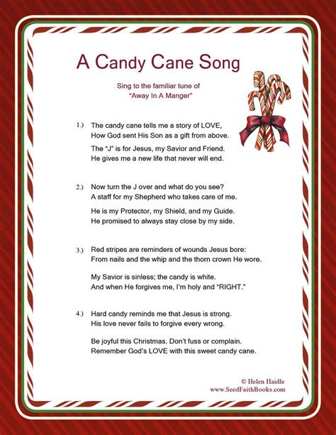 candy cane legend song  christmas poems candy cane