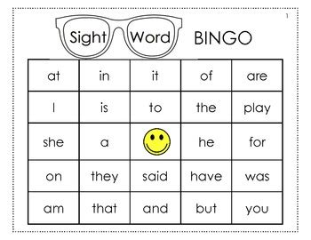 sight word template word cards sight word bingo cards k 1 level by mrs aoto tpt