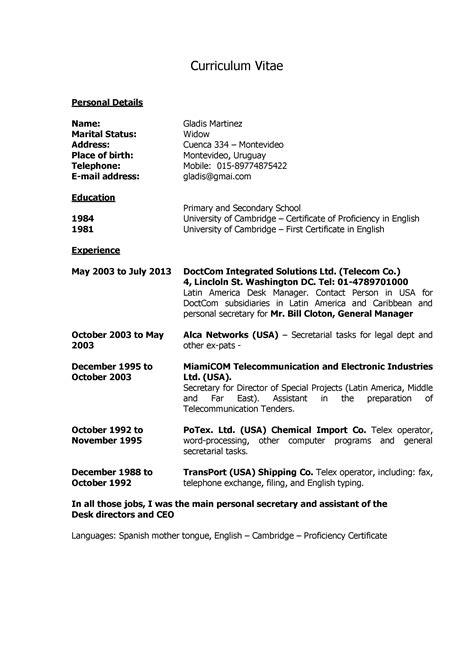 Modelo Curriculum Vitae De Secretaria Modelo De Curriculum Vitae Recepcionista Modelo De Curriculum Vitae