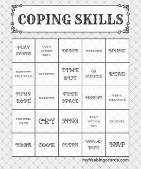 Coping Card Template by Coping Skills Custom Bingo Card Generator And