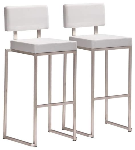 White Steel Bar Stools by Zuo Decade Stainless Steel And White Bar Stool Set Of 2