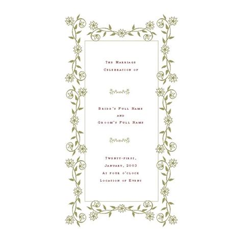 free wedding program templates de stress your wedding