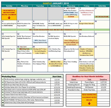 marketing calendar excel template calendar template excel