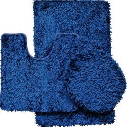 Navy Blue Bathroom Rug Set 3 Shiny Chenille Bath Rug Set Includes Rug Contour And Lid Cover Modern Bath Mats