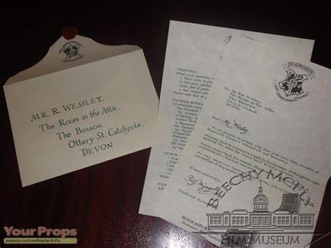 Harry Potter Acceptance Letter Replica Harry Potter And The Philosopher S Weasley S 1st Year Hogwarts Letter The Room In