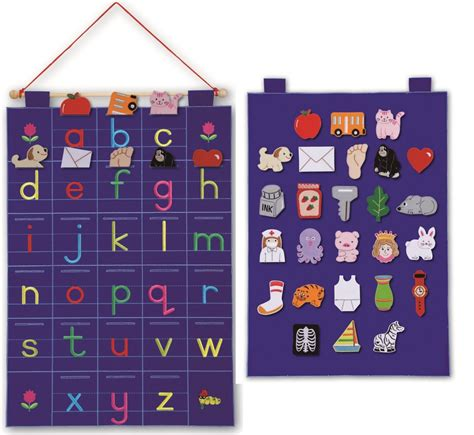 Sound Wall Chart With Writing Board Mainan alphabet abc fabric wall hanging lower letters wall chart