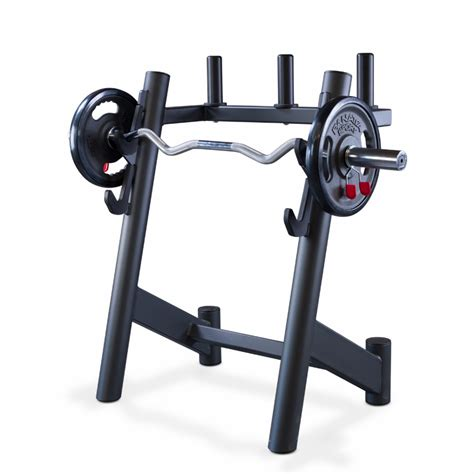 Curl Bar Rack by Weight Plates