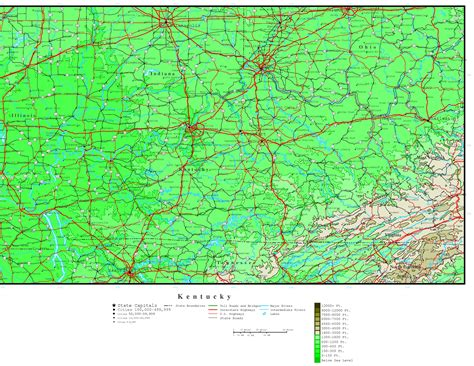 kentucky directions map kentucky elevation map