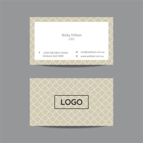 pattern of business card business card with pattern in color beige vector free
