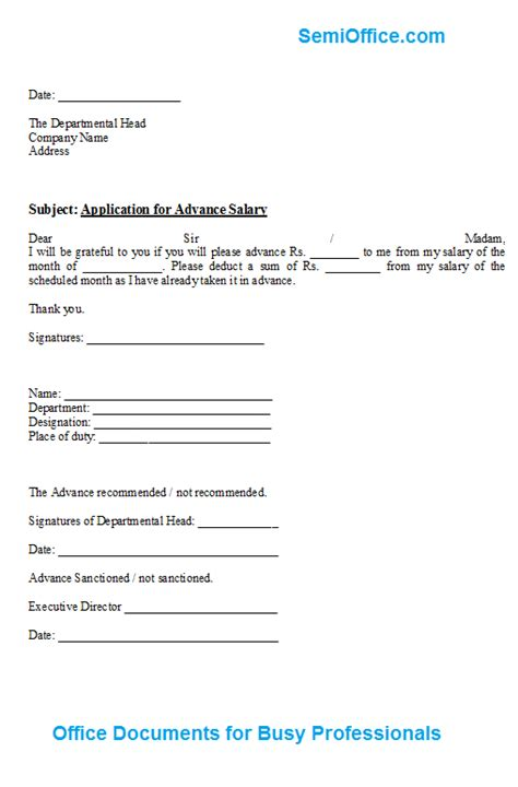 Advance Letter Exle advance salary application form format