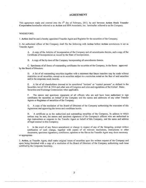 stock transfer agreement template sbh associates inc form s 1 a ex 99 2 exhibit 99 2 20