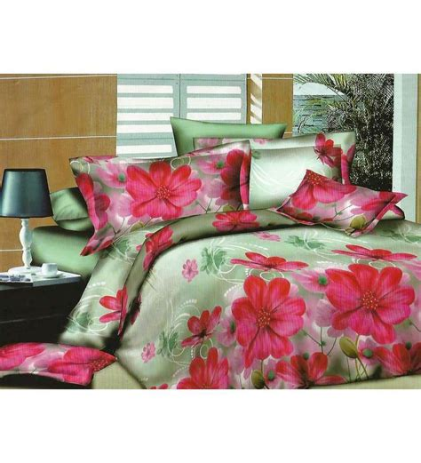 Floral Print Bed Sheet wraps n drapz grey and pink floral print bed sheet 1