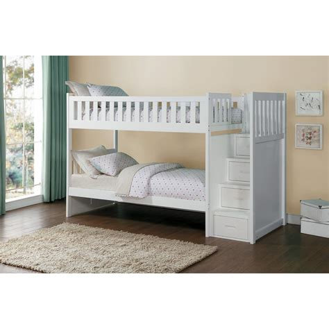 over bed storage homelegance galen twin over twin staircase storage bunk