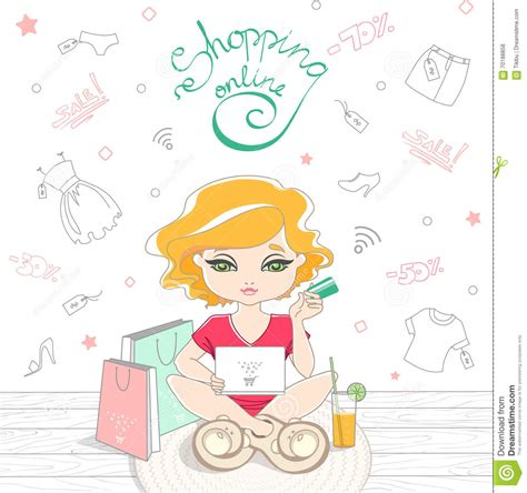 doodle free credit check shopping on line on the background stock