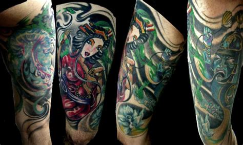 geisha tattoo znaczenie tatuaż japoński gejsza udo przez crossover