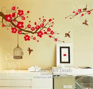 Mural Wall Decals Cherry Blossom Wall Decal Birds Wall Decals Flower Vinyl