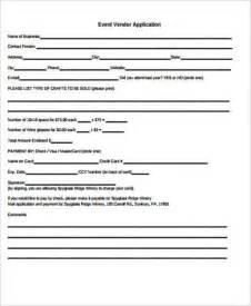 event vendor application template sle vendor application form 9 exles in word pdf