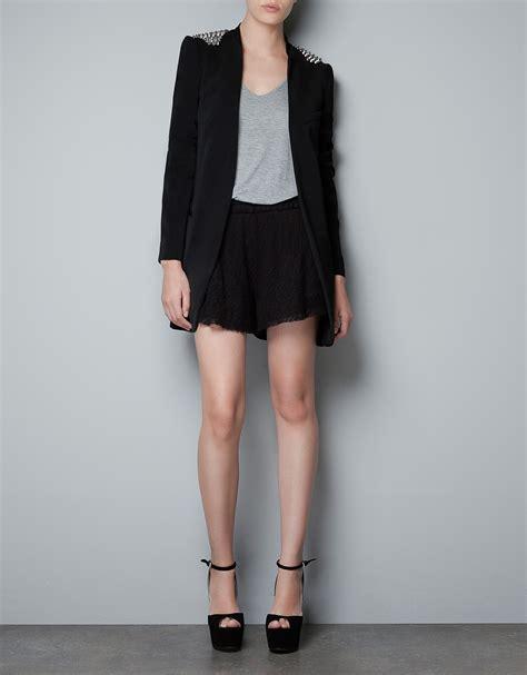 Blazer Zara zara blazer with spikes on the shoulder in black lyst
