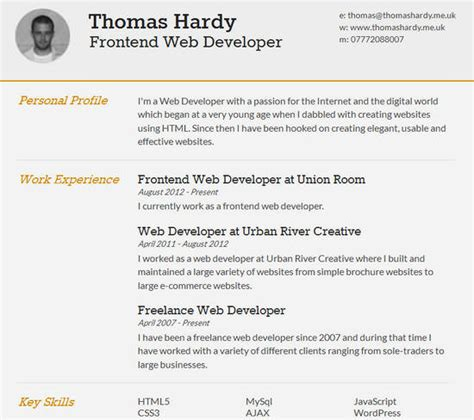 html resume template php 15 free html css r 233 sum 233 templates