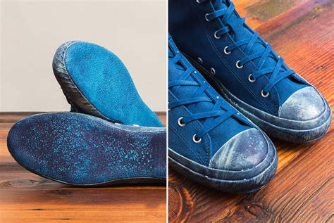 shoes like shifts into maximum overdye with their indigo high top sneakers