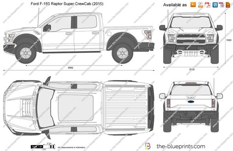 F Drawings Blueprints by Ford F 150 Raptor Crewcab Vector Drawing