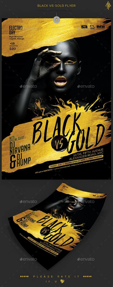 Black Gold Party Gold Party And Party Flyer On Pinterest Gold Flyer Template