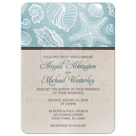 Linen Paper Wedding Invitations by Wedding Invitations Rustic Seashells Linen