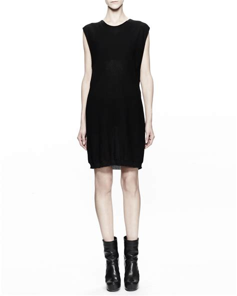 black cotton knit dress rick owens sleeveless cotton knit tunic dress in black lyst