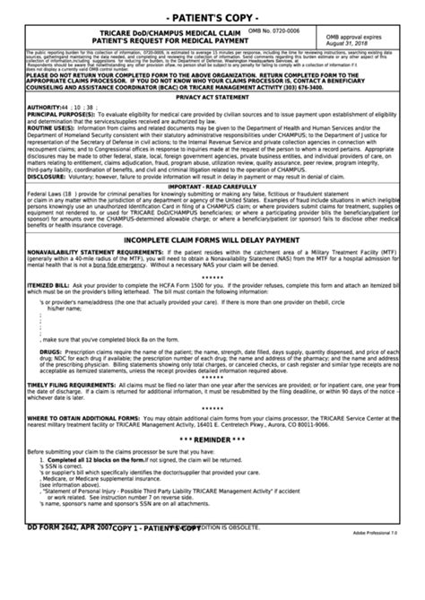Fillable Dd Form 2642 - Tricare Dod/champus Medical Claim