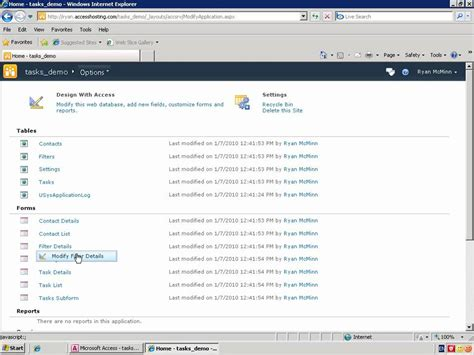 tutorial website database tutorial publish a access 2007 database to the web