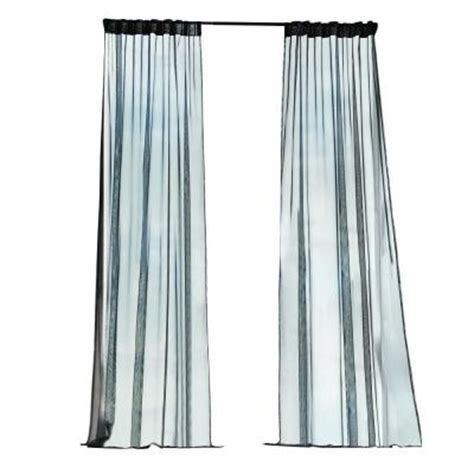 Outdoor Mesh Curtains Home Decorators Collection Black Mesh Outdoor Back Tab Curtain 1624461 The Home Depot