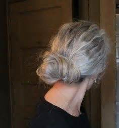 salt and pepper hair bun long gray hair strands of silver and snow pinterest