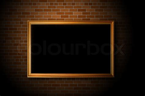 Best Wallpaper Home Decor Empty Frame Hanging On The Brick Wall Stock Photo