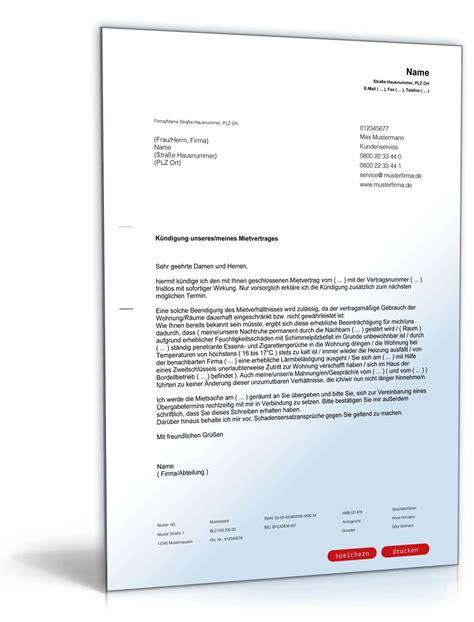 fristlose kündigung wohnung muster vermieter k 252 ndigung mietvertrag fristlos mieter muster zum