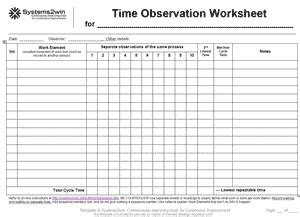 Time Study Templates For Process Observation Time Task Analysis Template