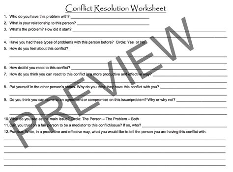 Conflict Resolution Worksheet by Conflict Resolution Worksheet