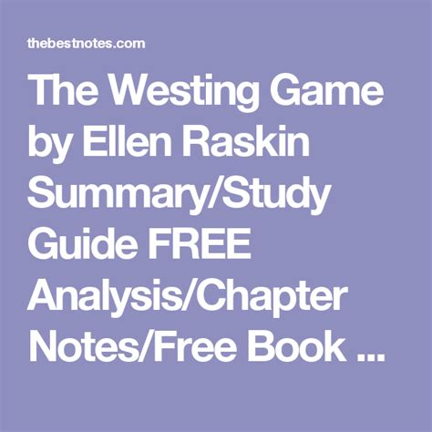 Novel The Westing the westing by raskin summary study guide free
