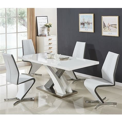 white gloss dining table and chairs axara extendable dining set small white grey gloss 4