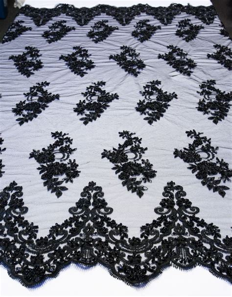 black bridal floral mesh w embroidery beaded lace