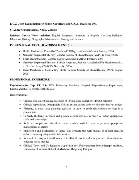 cv exle for physiotherapist lms cv