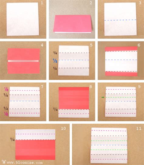 How To Fold Paper Into 3 - how to divide paper into one eighth bloomize