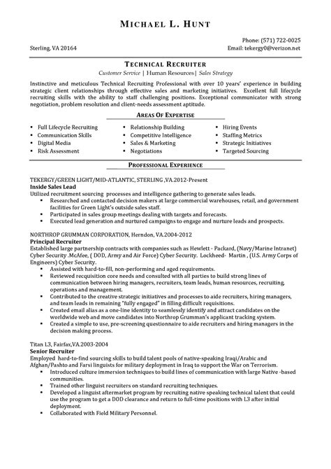 resume exle 57 recruiter resume sle human resource recruiters resume exle resume