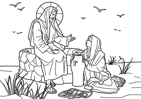 printable coloring pages woman at the well woman at the well coloring pages