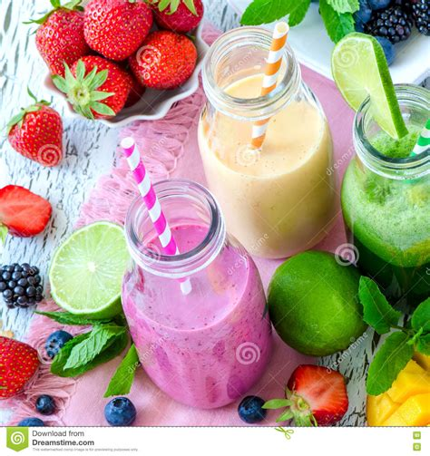 Yogurt Detox by Berry And Fruits Smoothie In Bottles Healthy Summer Detox