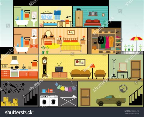 Cottage Plans With Garage cartoon family house stock vector 180928490 shutterstock