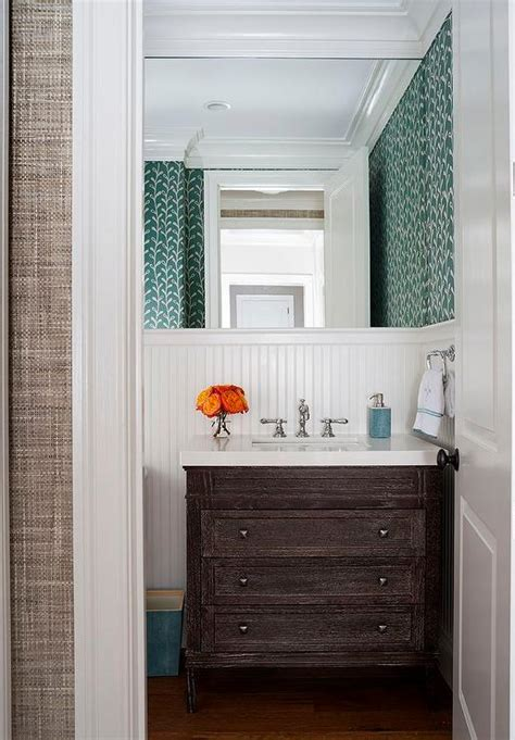 Brown Wainscoting by Modern Oak Washstand With White Quartz Waterfall
