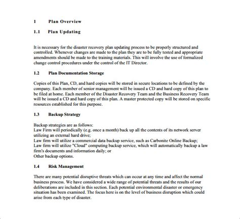 business recovery plan format 13 disaster recovery plan templates free sle
